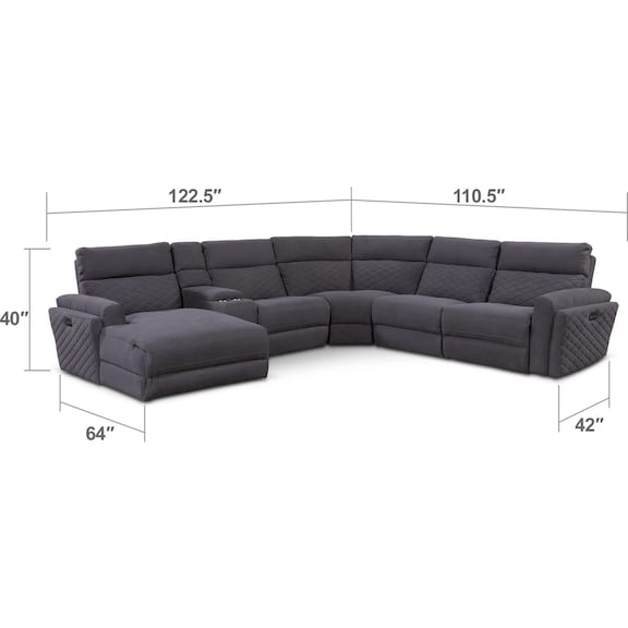 Living Room Furniture - Catalina 6-Piece Power Reclining Sectional with Left-Facing Chaise and 1 Recliner - Gray