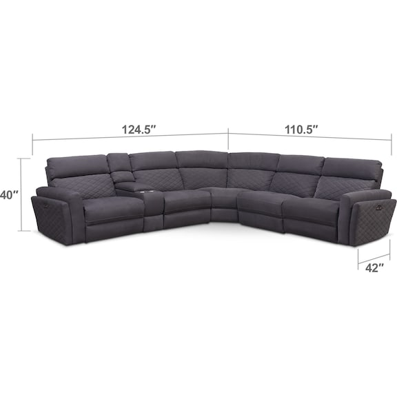 Living Room Furniture - Catalina 6-Piece Power Reclining Sectional with 3 Reclining Seats - Gray