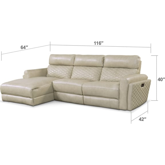 Living Room Furniture - Catalina 3-Piece Power Reclining Sectional with Left-Facing Chaise - Cream