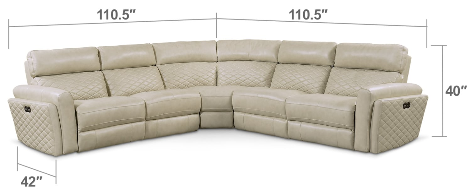 Living Room Furniture - Catalina 5-Piece Power Reclining Sectional with 3 Reclining Seats - Cream