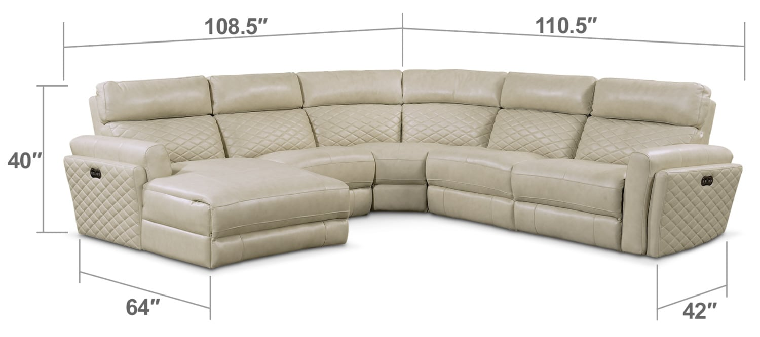 Living Room Furniture - Catalina 5-Piece Power Reclining Sectional with Left-Facing Chaise and 1 Recliner - Cream