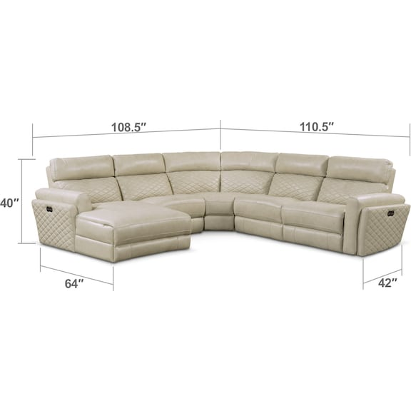 Living Room Furniture - Catalina 5-Piece Power Reclining Sectional with Left-Facing Chaise and 2 Recliners - Cream