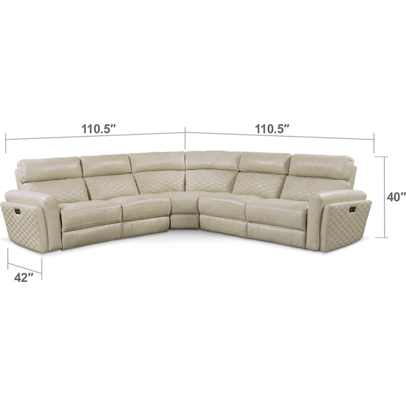 Living Room Furniture - Catalina 5-Piece Power Reclining Sectional with 2 Reclining Seats - Cream