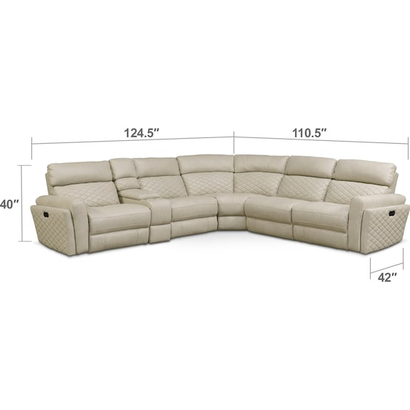 Living Room Furniture - Catalina 6-Piece Power Reclining Sectional with 3 Reclining Seats - Cream