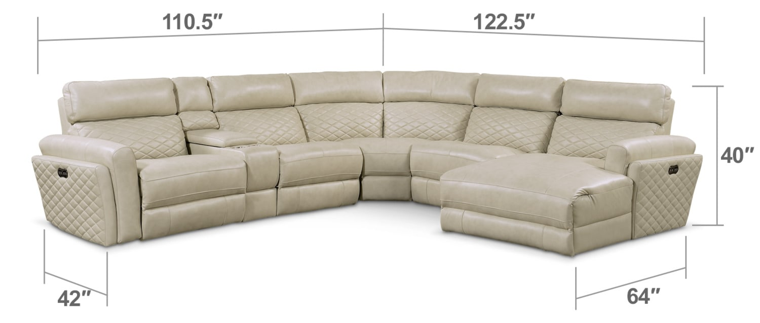 Living Room Furniture - Catalina 6-Piece Power Reclining Sectional with Right-Facing Chaise and 2 Recliners - Cream