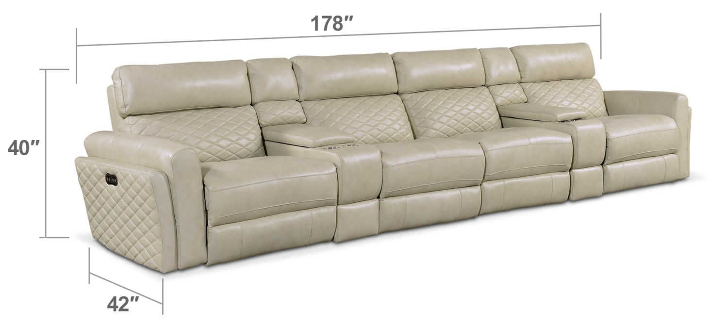 Living Room Furniture - Catalina 6-Piece Power Sectional with 4 Reclining Seats - Cream