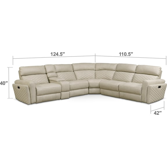Living Room Furniture - Catalina 6-Piece Power Reclining Sectional with 2 Reclining Seats - Cream