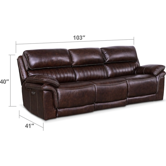 Living Room Furniture - Monterey 3-Piece Power Reclining Sofa - Chocolate