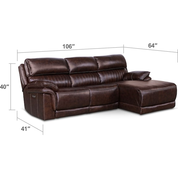 Living Room Furniture - Monterey 3-Piece Power Reclining Sectional with Right-Facing Chaise - Chocolate