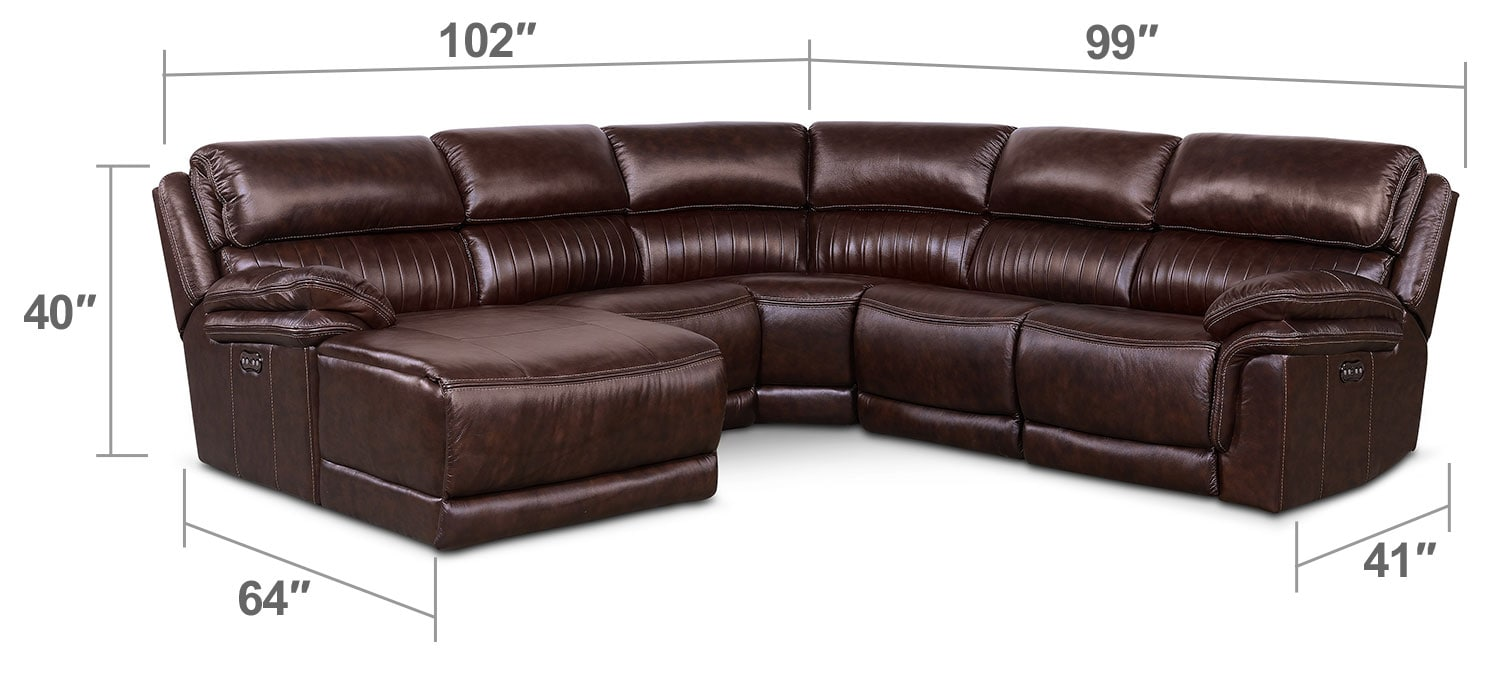 Living Room Furniture - Monterey 5-Piece Power Reclining Sectional with Left-Facing Chaise and 2 Recliners - Chocolate