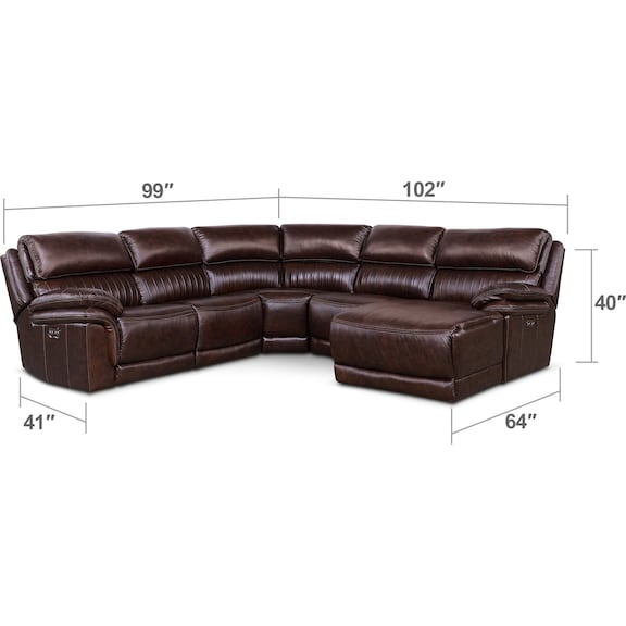 Living Room Furniture - Monterey 5-Piece Power Reclining Sectional with Right-Facing Chaise and 2 Recliners - Chocolate