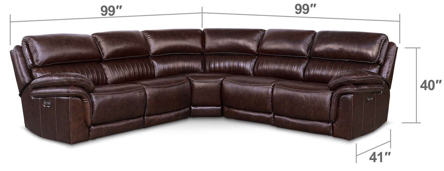 Living Room Furniture - Monterey 5-Piece Power Reclining Sectional with Three Reclining Seats - Chocolate