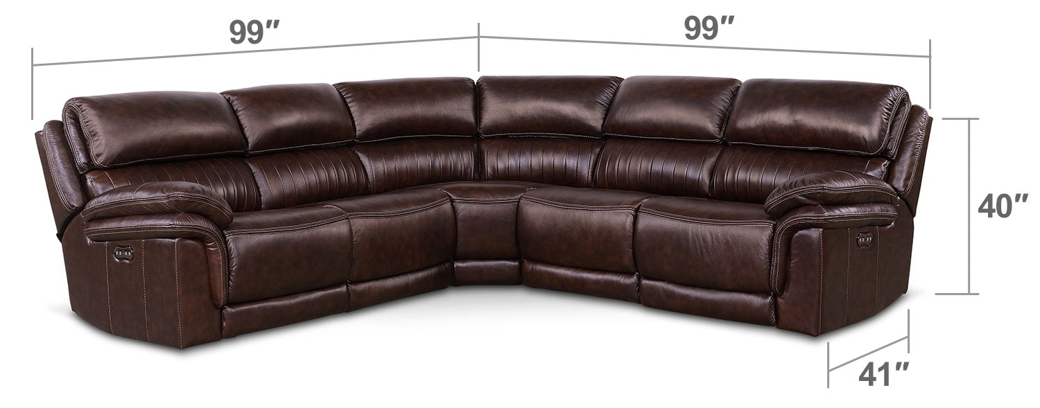Living Room Furniture - Monterey 5-Piece Power Reclining Sectional - Chocolate