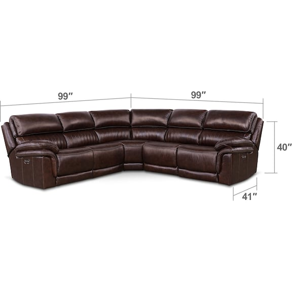 Living Room Furniture - Monterey 5-Piece Power Reclining Sectional with 2 Recliners - Chocolate