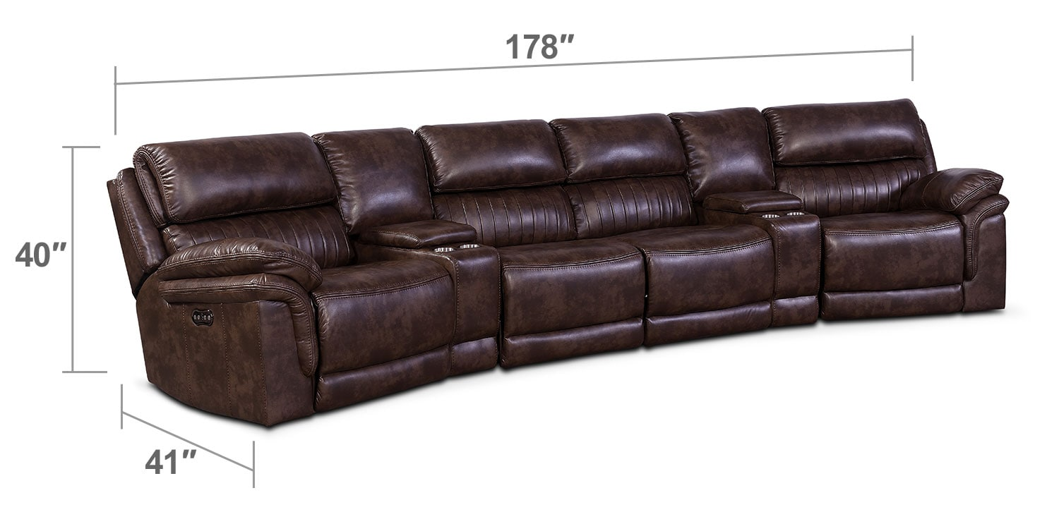 Living Room Furniture - Monterey 6-Piece Power Reclining Sectional with Wedge Consoles - Chocolate