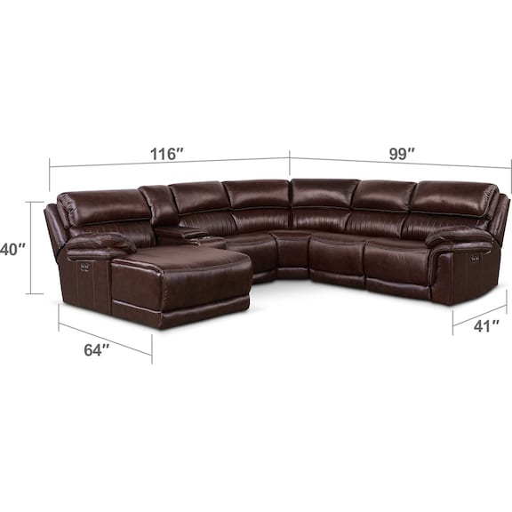 Living Room Furniture - Monterey 6-Piece Power Reclining Sectional with Left-Facing Chaise and 1 Recliner - Chocolate