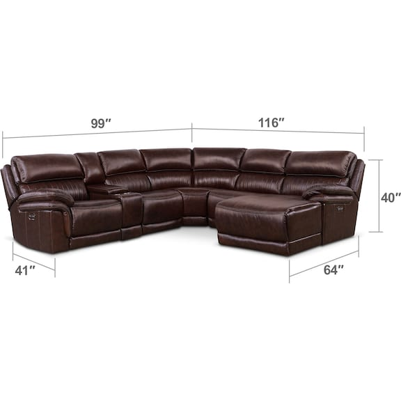 Living Room Furniture - Monterey 6-Piece Power Reclining Sectional with Right-Facing Chaise and 1 Recliner - Chocolate