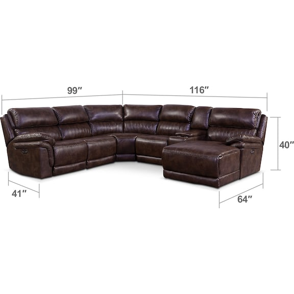 Living Room Furniture - Monterey 6-Piece Power Reclining Sectional with Right-Facing Chaise and 2 Recliners - Chocolate