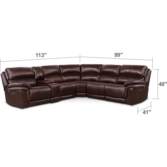 Living Room Furniture - Monterey 6-Piece Power Reclining Sectional with 2 Reclining Seats - Chocolate