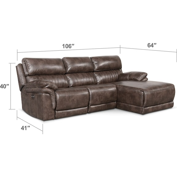 Living Room Furniture - Monterey 3-Piece Power Reclining Sectional with Right-Facing Chaise - Brown