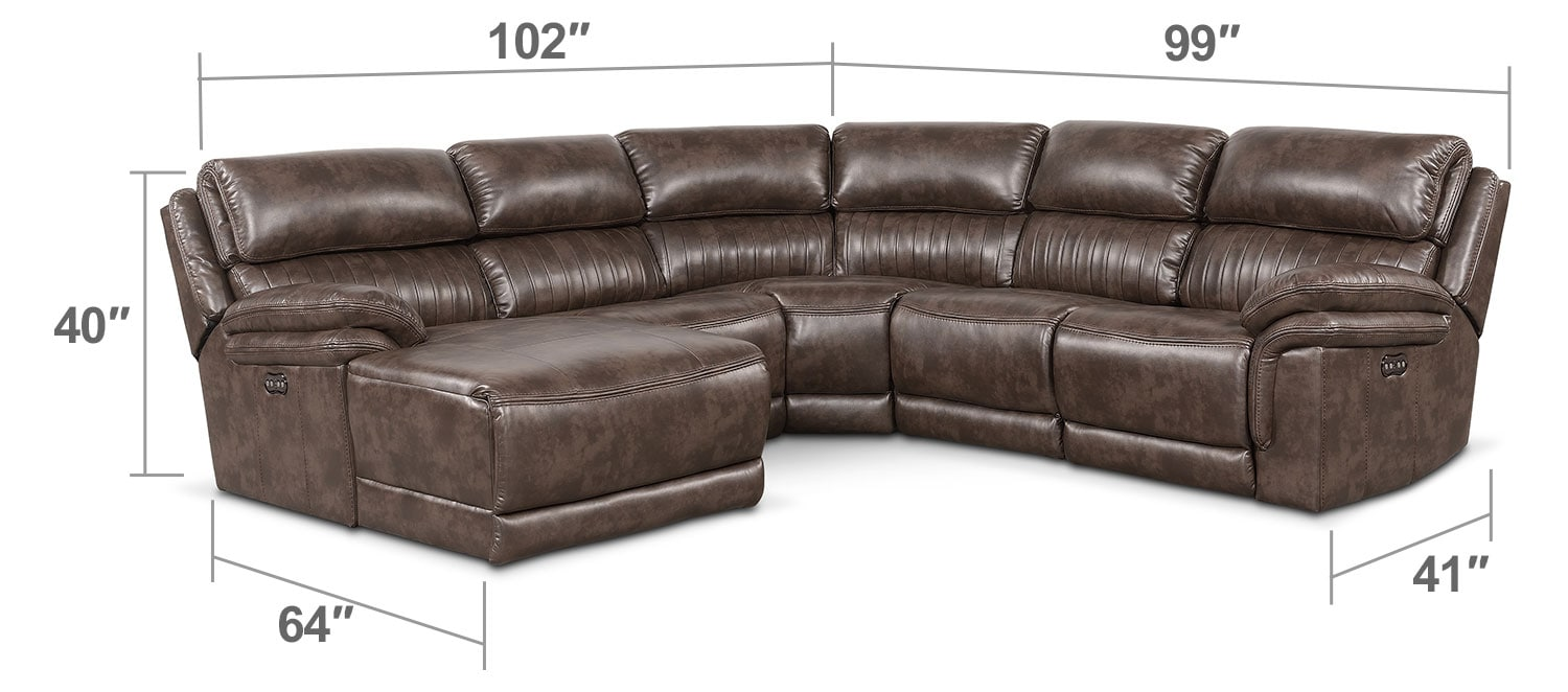 Living Room Furniture - Monterey 5-Piece Power Reclining Sectional with Left-Facing Chaise and 1 Recliner - Brown