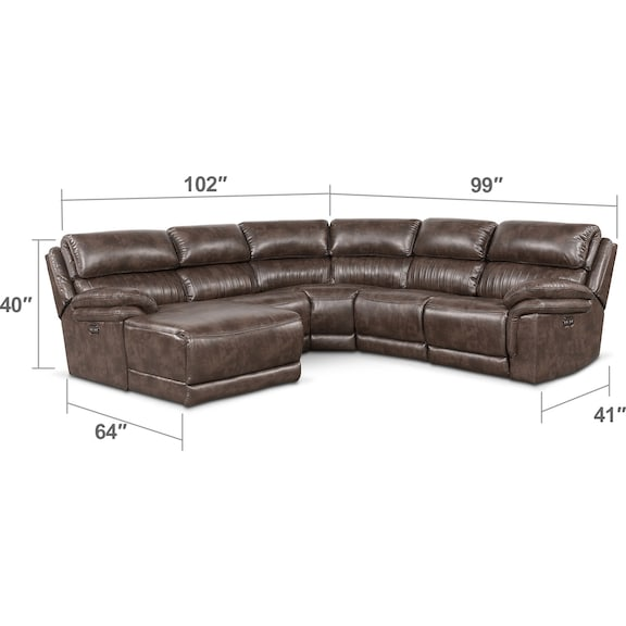 Living Room Furniture - Monterey 5-Piece Power Reclining Sectional with Left-Facing Chaise with 2 Recliners - Brown