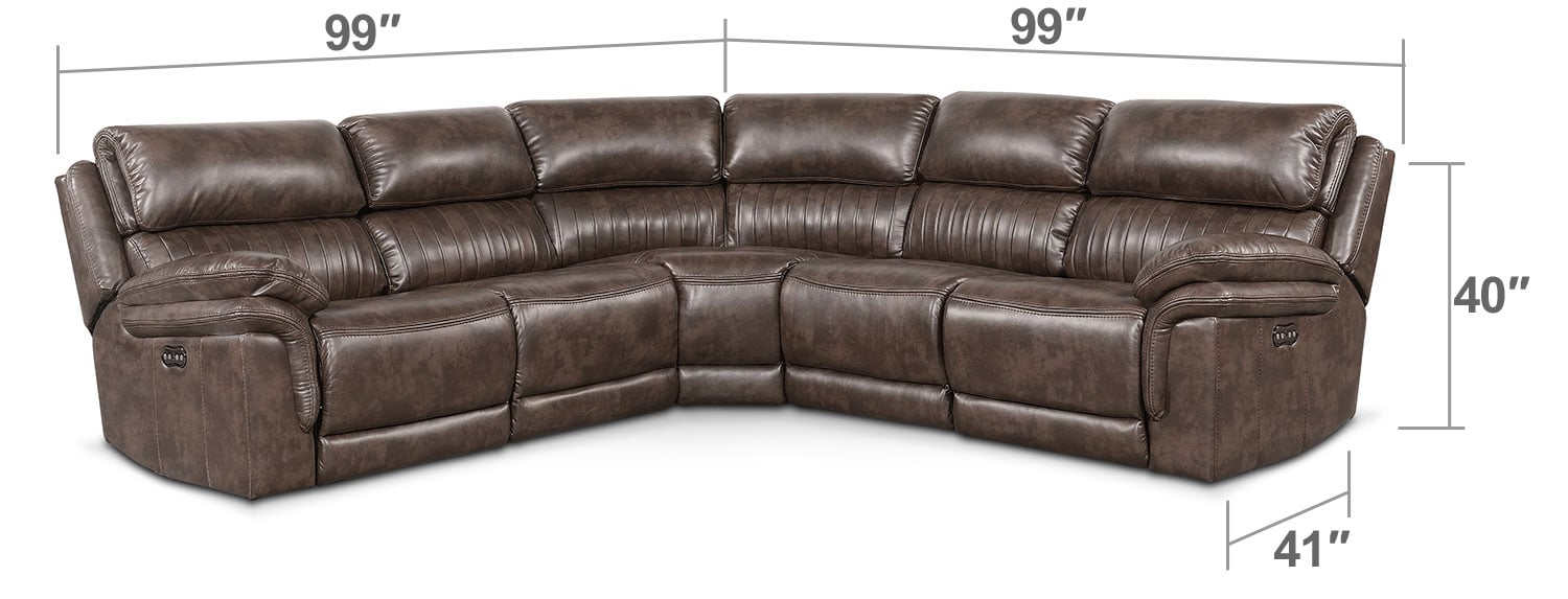 Living Room Furniture - Monterey 5-Piece Power Reclining Sectional with Three Reclining Seats - Brown