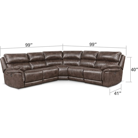 Living Room Furniture - Monterey 5-Piece Power Reclining Sectional with 3 Reclining Seats