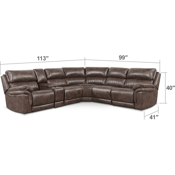 Living Room Furniture - Monterey 6-Piece Power Reclining Sectional with 3 Reclining Seats - Brown