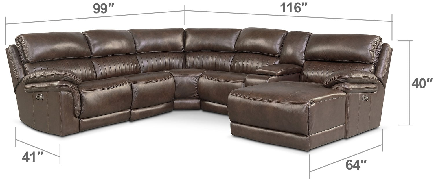 Living Room Furniture - Monterey 6-Piece Power Reclining Sectional with Right-Facing Chaise and 2 Recliners - Brown