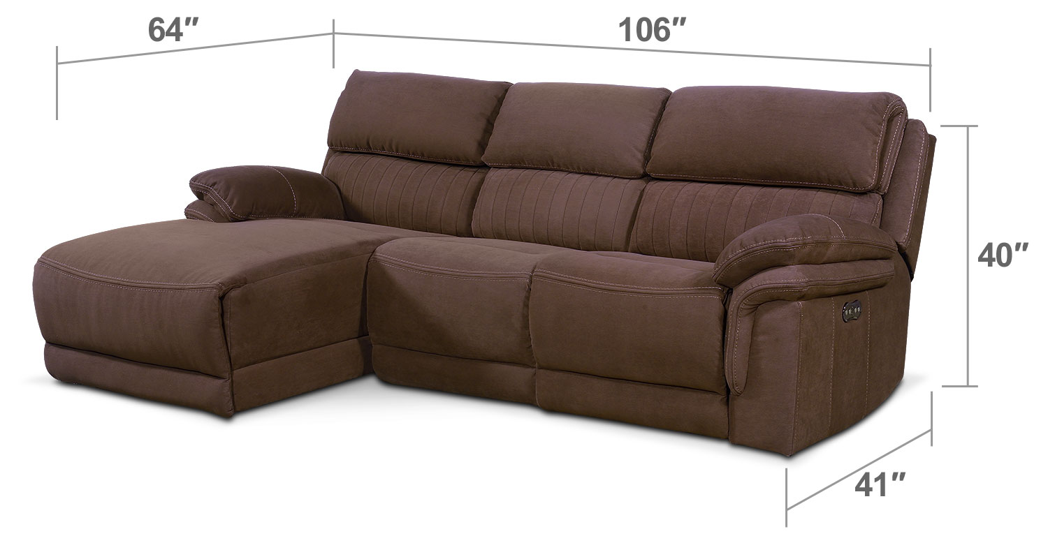 Living Room Furniture - Monterey 3-Piece Power Reclining Sectional with Left-Facing Chaise - Mocha