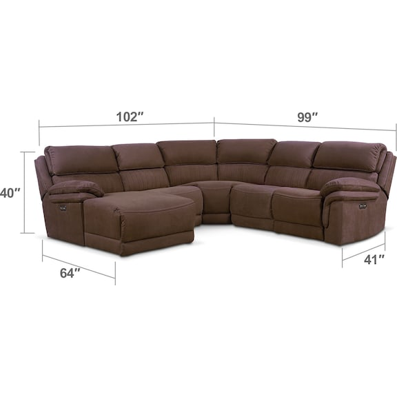 Living Room Furniture - Monterey 5-Piece Power Reclining Sectional with Left-Facing Chaise with 2 Recliners - Mocha