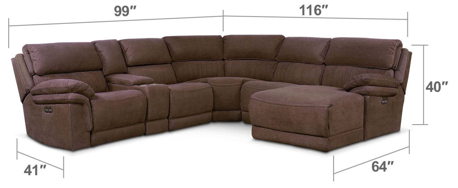 Living Room Furniture - Monterey 6-Piece Power Reclining Sectional with Right-Facing Chaise and 1 Recliner - Mocha