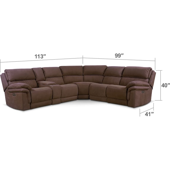 Living Room Furniture - Monterey 6-Piece Power Reclining Sectional with 3 Reclining Seats - Mocha