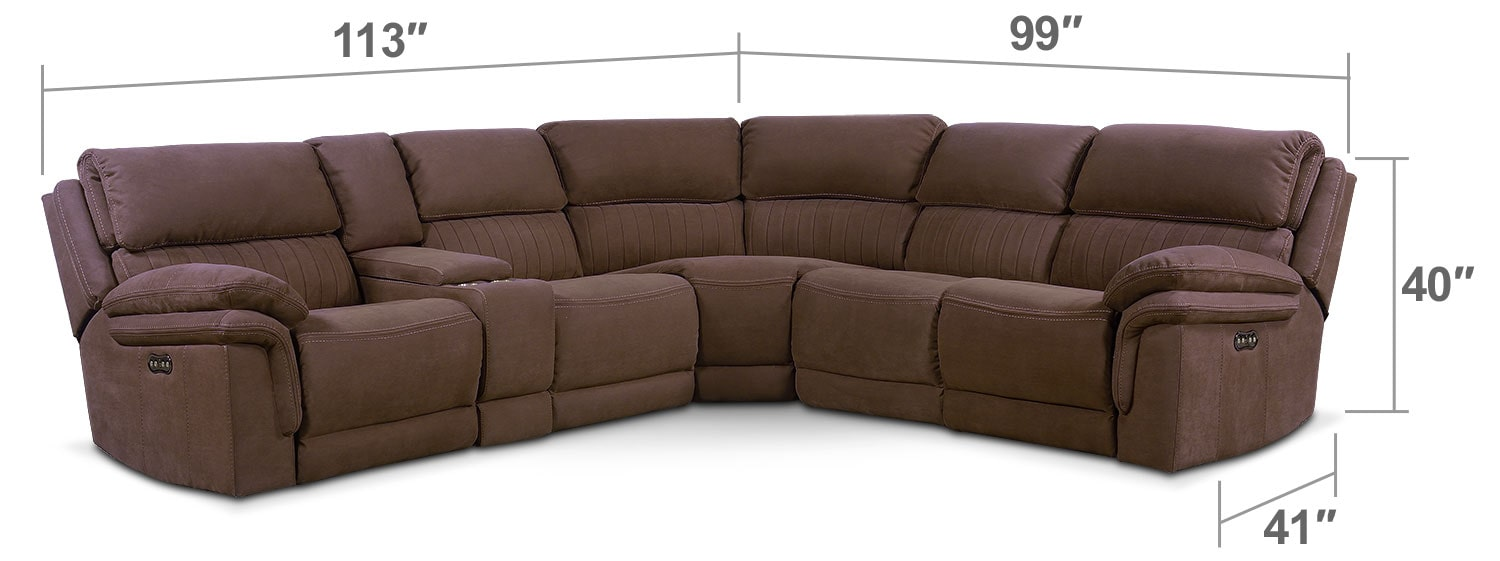 Living Room Furniture - Monterey 6-Piece Power Reclining Sectional with 2 Reclining Seats - Mocha