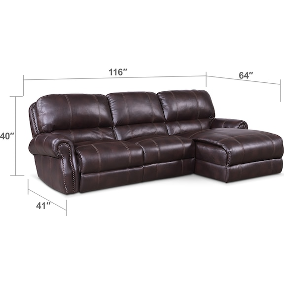 Living Room Furniture - Dartmouth 3-Piece Power Reclining Sectional with Right-Facing Chaise - Burgundy