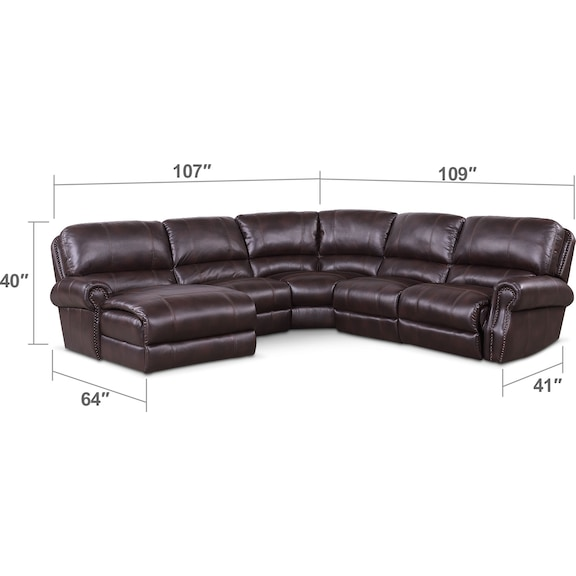 Living Room Furniture - Dartmouth 5-Piece Power Reclining Sectional w/ Left-Facing Chaise and 1 Reclining Seat - Burgundy