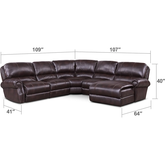 Living Room Furniture - Dartmouth 5-Piece Power Reclining Sectional w/ Right-Facing Chaise and 1 Reclining Seat - Burgundy