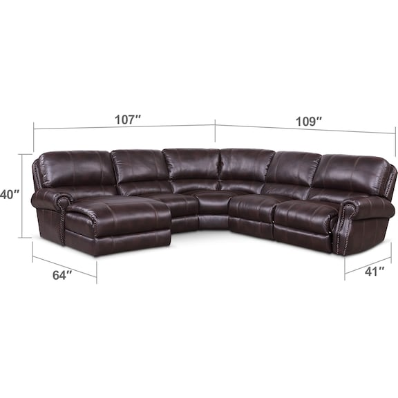Living Room Furniture - Dartmouth 5-Piece Power Reclining Sectional w/ Left-Facing Chaise and 2 Reclining Seats - Burgundy