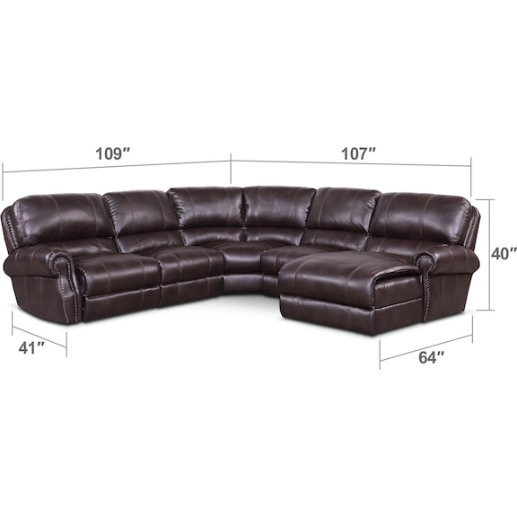 Living Room Furniture - Dartmouth 5-Piece Power Reclining Sectional w/ Right-Facing Chaise and 2 Reclining Seats - Burgundy