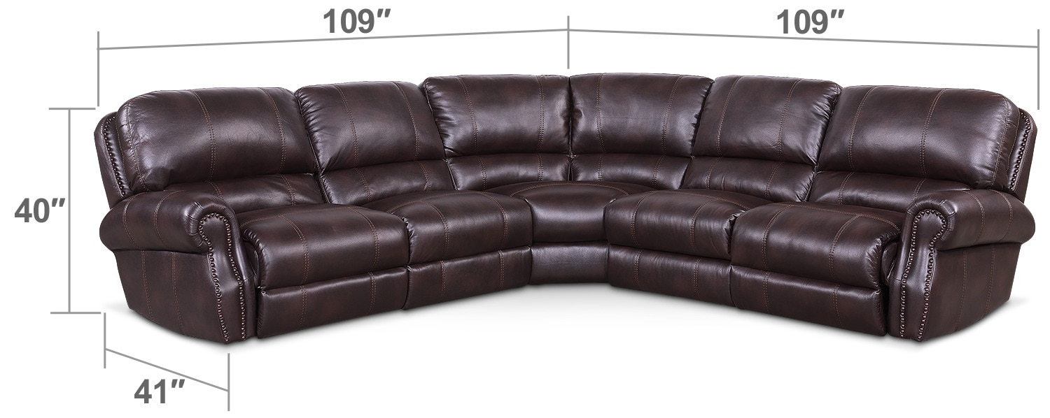 Living Room Furniture - Dartmouth 5-Piece Power Reclining Sectional with 3 Reclining Seats - Burgundy