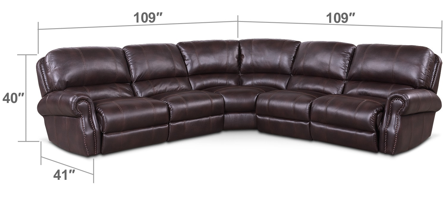 Dartmouth 5 Piece Power Reclining Sectional with 2 Reclining Seats