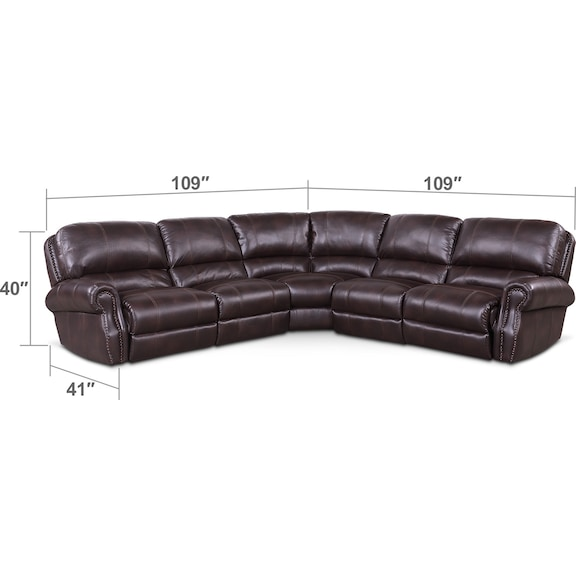 Living Room Furniture - Dartmouth 5-Piece Power Reclining Sectional with 2 Reclining Seats - Burgundy