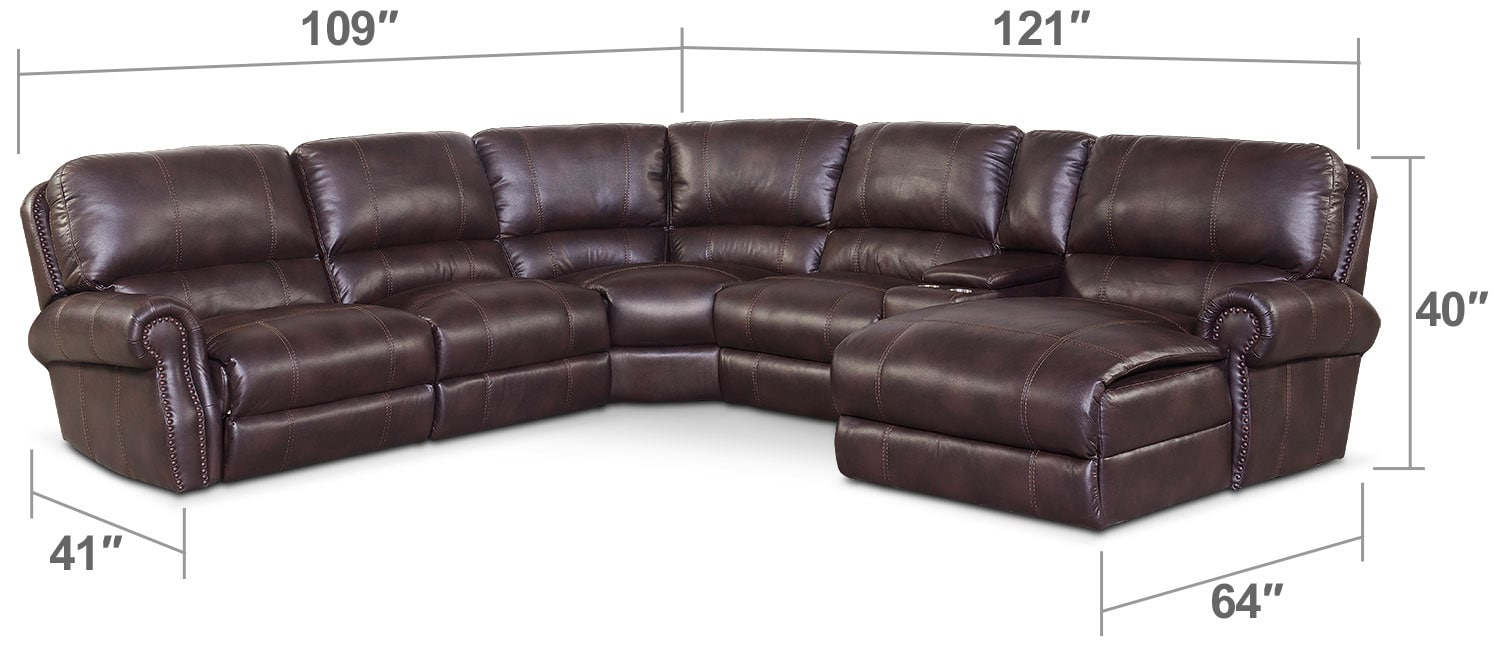 Living Room Furniture - Dartmouth 6-Piece Power Reclining Sectional w/ Right-Facing Chaise and 1 Reclining Seat - Burgundy