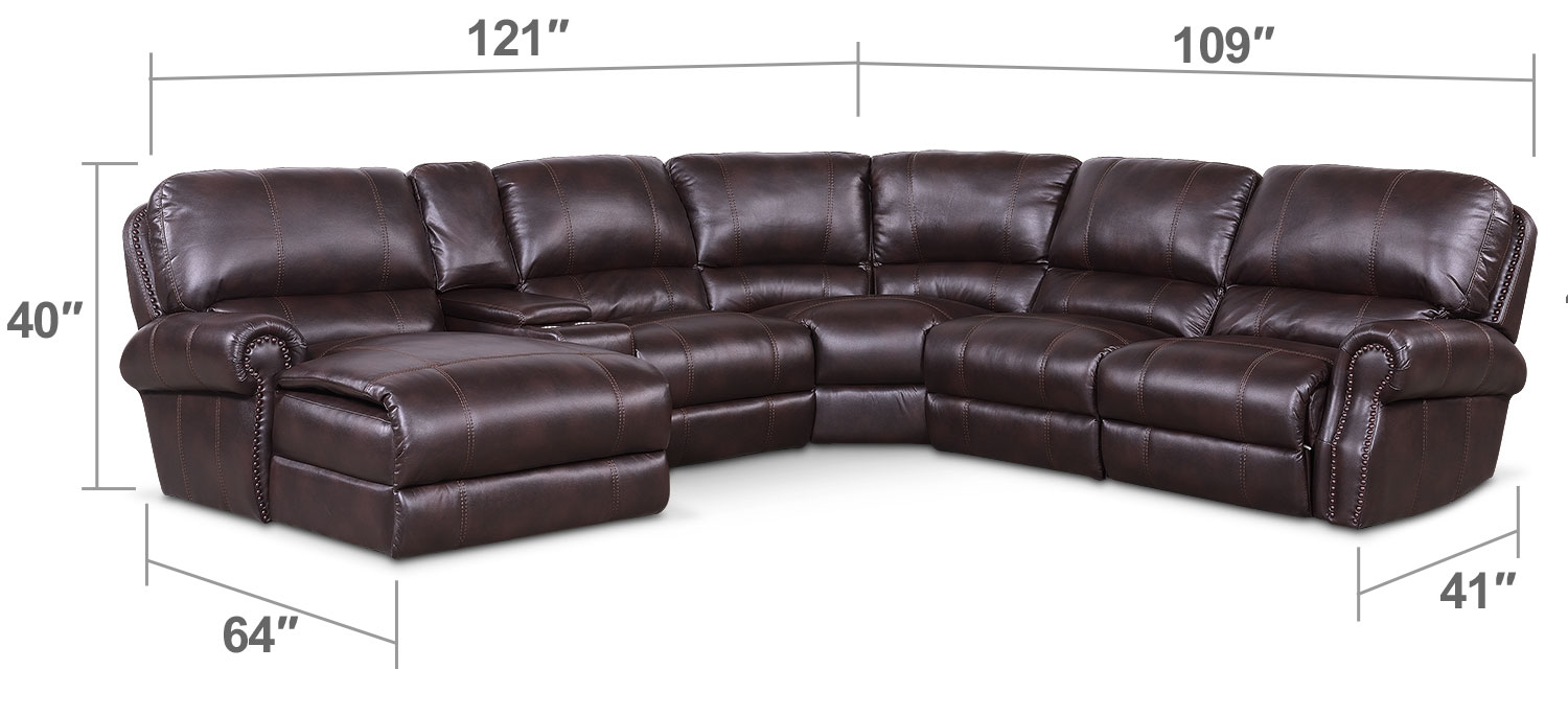 Living Room Furniture - Dartmouth 6-Piece Power Reclining Sectional with Left-Facing Chaise and 1 Recliner - Burgundy