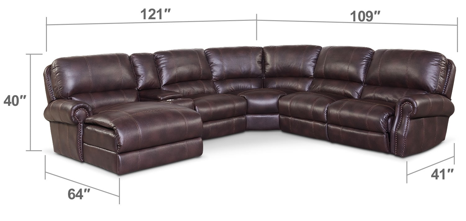 Living Room Furniture - Dartmouth 6-Piece Power Reclining Sectional with Left-Facing Chaise and 2 Recliners - Burgundy