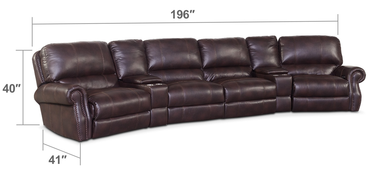 Living Room Furniture - Dartmouth 6-Piece Power Reclining Sectional with 2 Wedge Consoles - Burgundy