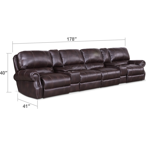 Living Room Furniture - Dartmouth 6-Piece Dual-Power Reclining Sectional with 4 Reclining Seats