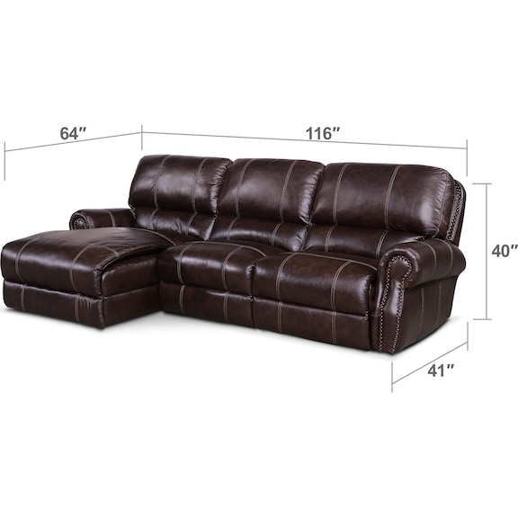 Living Room Furniture - Dartmouth 3-Piece Power Reclining Sectional with Left-Facing Chaise - Chocolate