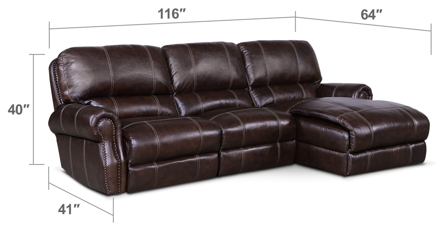 Living Room Furniture - Dartmouth 3-Piece Power Reclining Sectional with Right-Facing Chaise - Chocolate